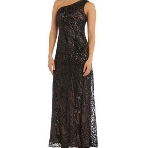 Nightway gown in sequined chiffon